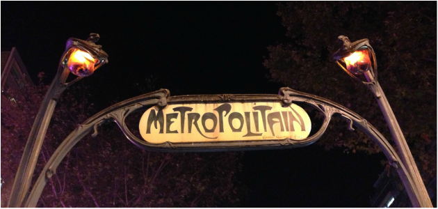 Two lamp posts on a gothic Metropolitain subway sign in Montmartre Paris France