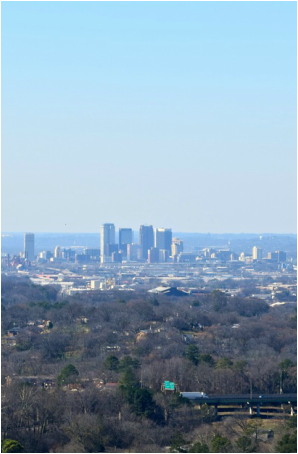 View of downtown Birmingham, Alabama from Ruffner Mountain Nature Preserve's Overlook Trail.