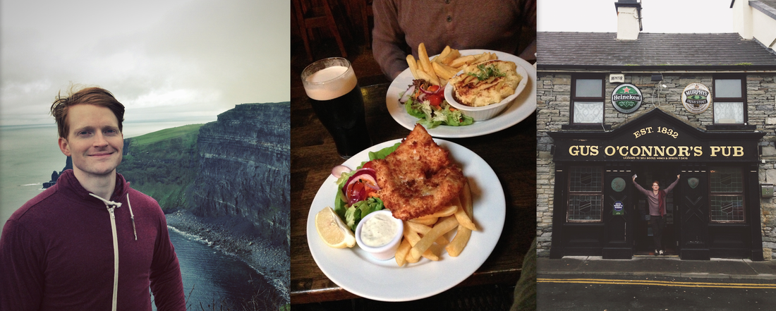 Standing at the Cliffs of Moher and fish and chips lunch in Doolin, Ireland at Gus O'Conners Pub