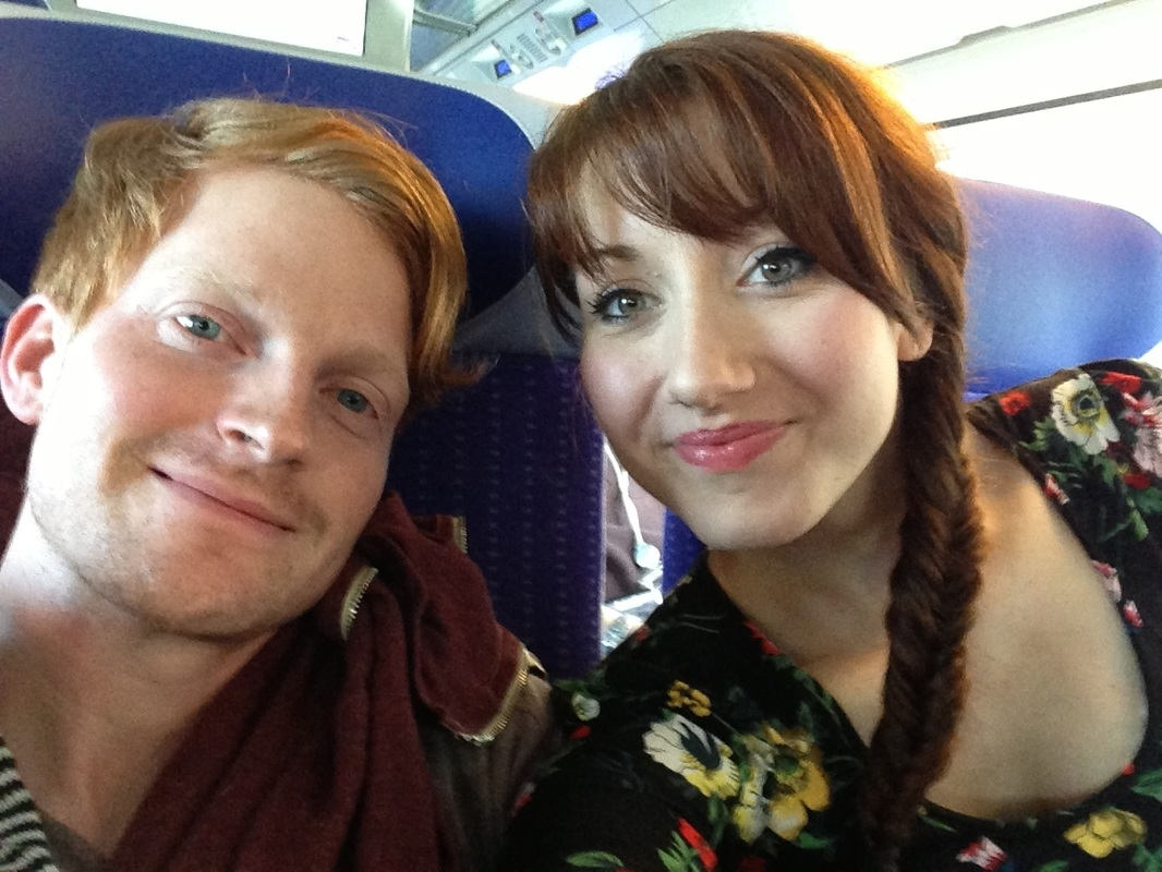Honeymooners on a train from Paris to Strasbourg, France