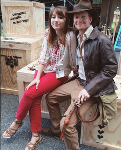 Indiana Jones costume contest winners at the 2015 17th annual Sidewalk Film festival in Birmingham, Alabama