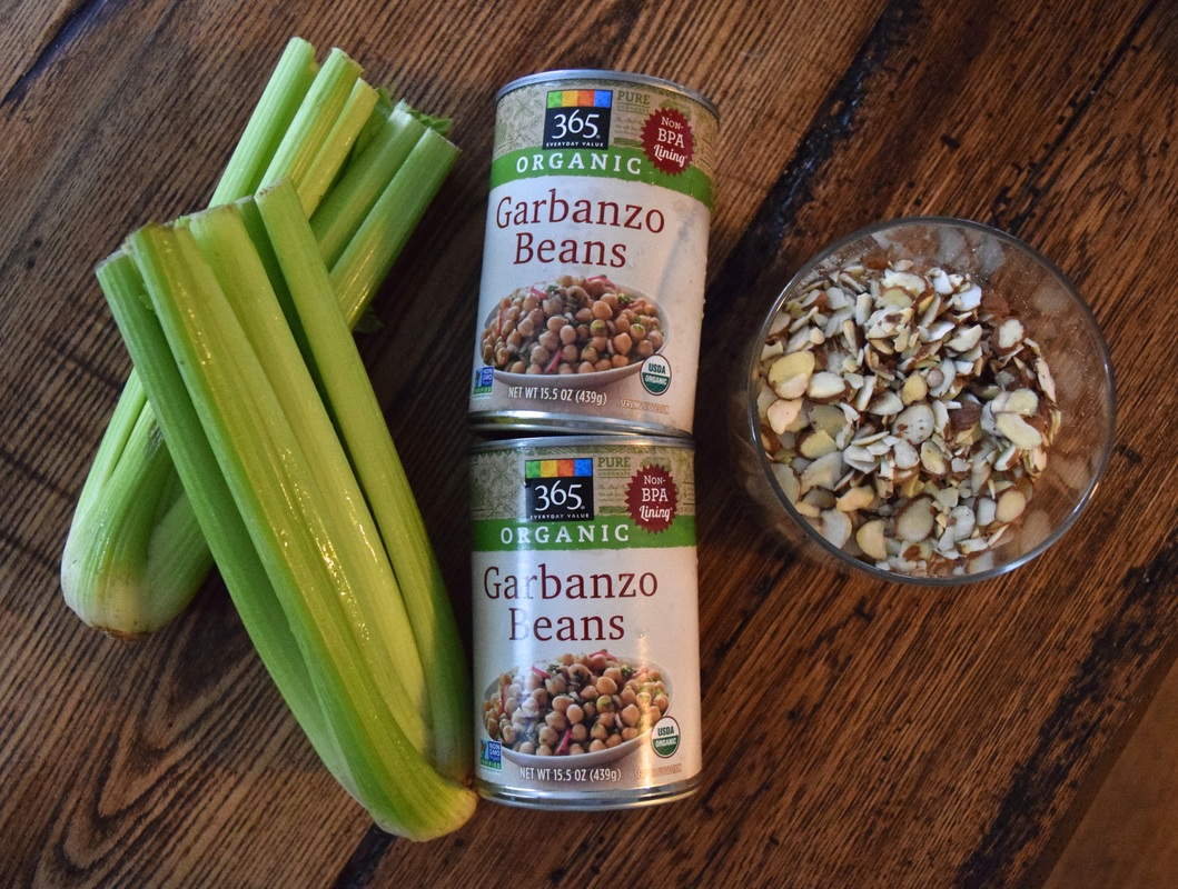 Vegan Chick Pea Salad RECIPE: garbanzo beans, sliced almonds, celery, and mustard dressing