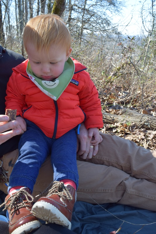 Family hiking and picnic at Ruffner Mountain Nature Preserve's Overlook Trail in Birmingham, Alabama