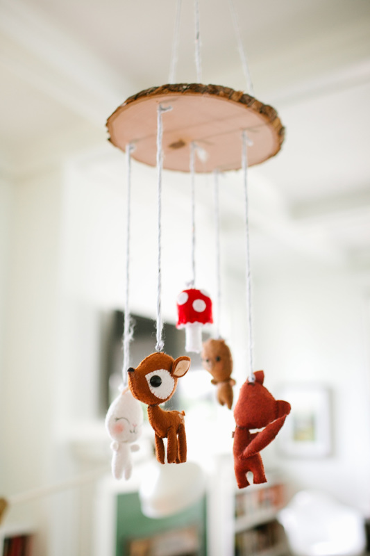 Vintage camping themed baby shower - DIY Woodland baby mobile