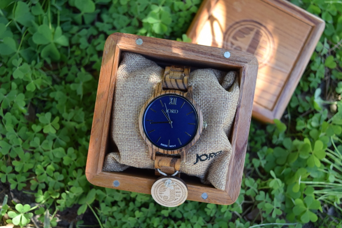 JORD women's wooden Frankie series watch in Zebrawood with navy watch face