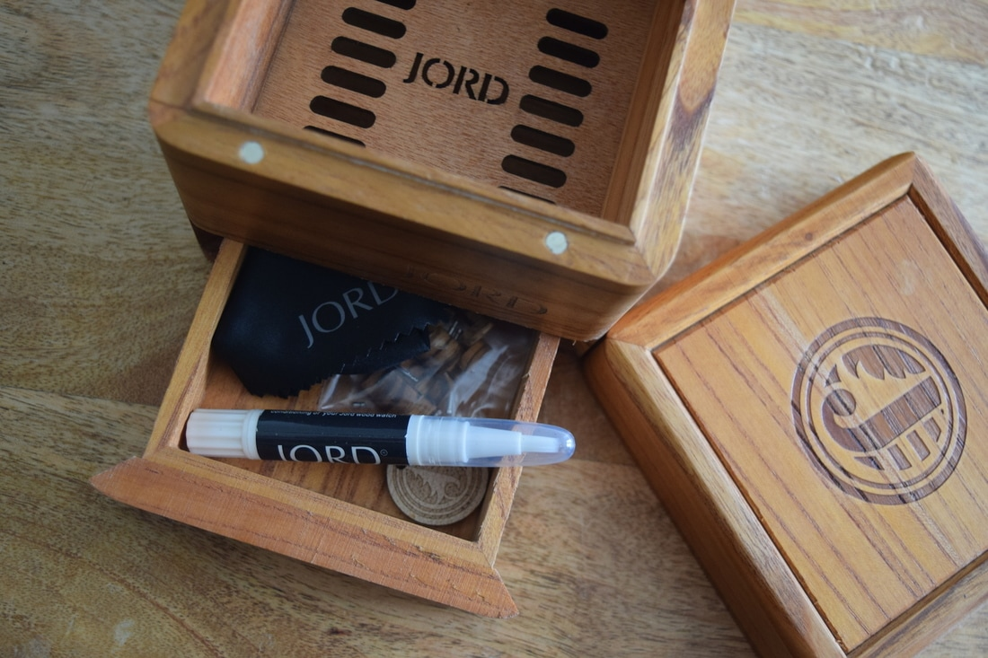 JORD wooden watches in wooden, magnetic engraved box with storage drawer