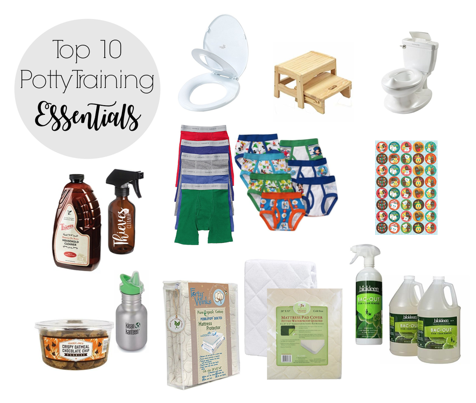 Our potty training essentials: 1 - Child's toilet seat / 2 - Wooden step stool / 3 - Little potty / 4 - Thieves cleaner / 5 - Undies (12 or more) / 6 - Stickers / 7 - Low sugar mini cookies / 8 - Juice cup / 9 - Mattress pad covers (3 or more) / 10 - Bac-Out spray